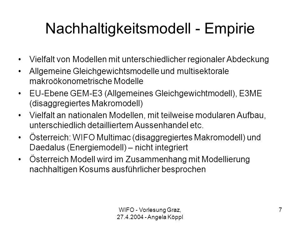 WIFO - Vorlesung Graz, 27.4.2004 - Angela Köppl 7 Nachhaltigkeitsmodell - Empirie Vielfalt von Modellen mit unterschiedlicher regionaler Abdeckung Allgemeine Gleichgewichtsmodelle und multisektorale makroökonometrische Modelle EU-Ebene GEM-E3 (Allgemeines Gleichgewichtmodell), E3ME (disaggregiertes Makromodell) Vielfalt an nationalen Modellen, mit teilweise modularen Aufbau, unterschiedlich detailliertem Aussenhandel etc.