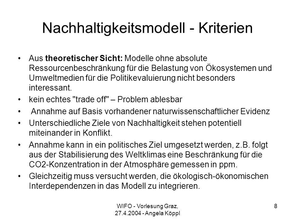 WIFO - Vorlesung Graz, 27.4.2004 - Angela Köppl 8 Nachhaltigkeitsmodell - Kriterien Aus theoretischer Sicht: Modelle ohne absolute Ressourcenbeschränkung für die Belastung von Ökosystemen und Umweltmedien für die Politikevaluierung nicht besonders interessant.