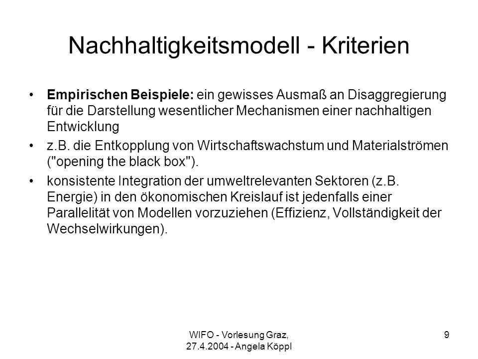 WIFO - Vorlesung Graz, 27.4.2004 - Angela Köppl 9 Nachhaltigkeitsmodell - Kriterien Empirischen Beispiele: ein gewisses Ausmaß an Disaggregierung für die Darstellung wesentlicher Mechanismen einer nachhaltigen Entwicklung z.B.