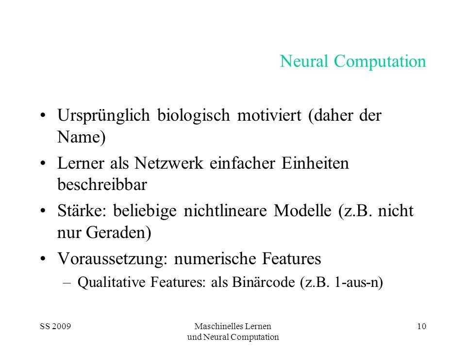 SS 2009Maschinelles Lernen und Neural Computation 10 Neural Computation Ursprünglich biologisch motiviert (daher der Name) Lerner als Netzwerk einfacher Einheiten beschreibbar Stärke: beliebige nichtlineare Modelle (z.B.