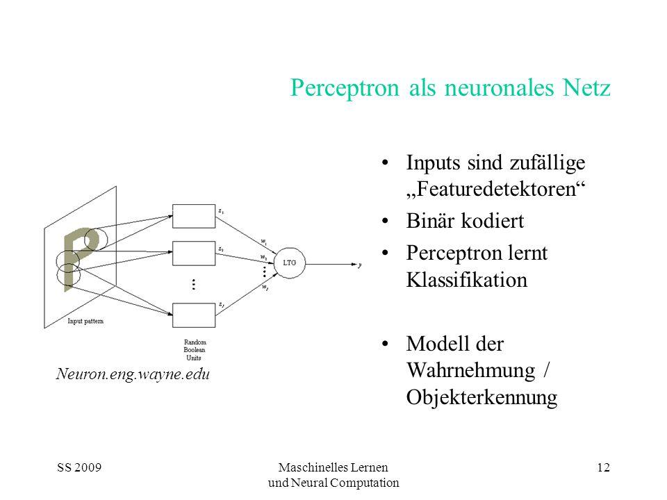 "SS 2009Maschinelles Lernen und Neural Computation 12 Perceptron als neuronales Netz Inputs sind zufällige ""Featuredetektoren Binär kodiert Perceptron lernt Klassifikation Modell der Wahrnehmung / Objekterkennung Neuron.eng.wayne.edu"
