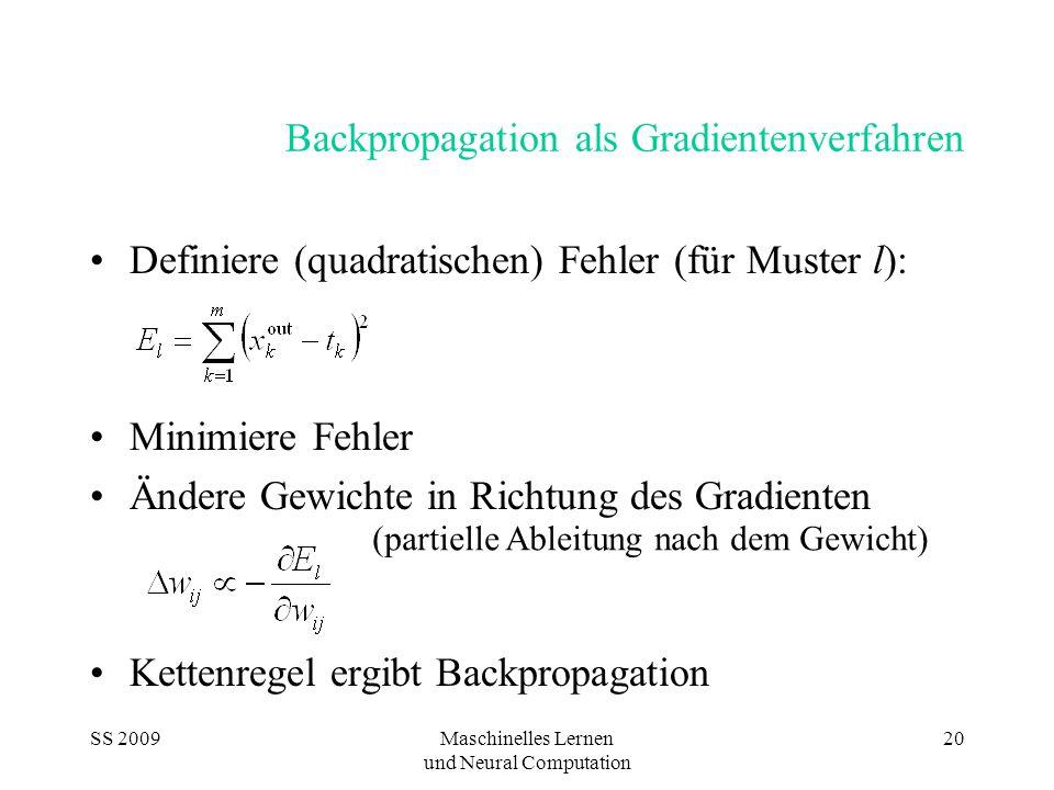 SS 2009Maschinelles Lernen und Neural Computation 20 Backpropagation als Gradientenverfahren Definiere (quadratischen) Fehler (für Muster l): Minimiere Fehler Ändere Gewichte in Richtung des Gradienten Kettenregel ergibt Backpropagation (partielle Ableitung nach dem Gewicht)