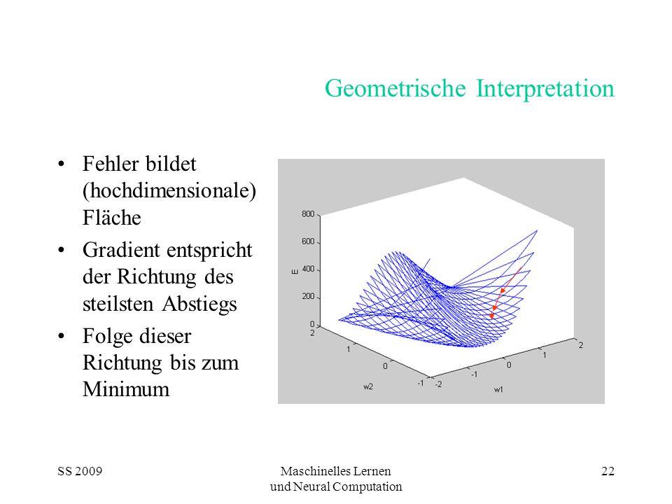 SS 2009Maschinelles Lernen und Neural Computation 22 Geometrische Interpretation Fehler bildet (hochdimensionale) Fläche Gradient entspricht der Richtung des steilsten Abstiegs Folge dieser Richtung bis zum Minimum