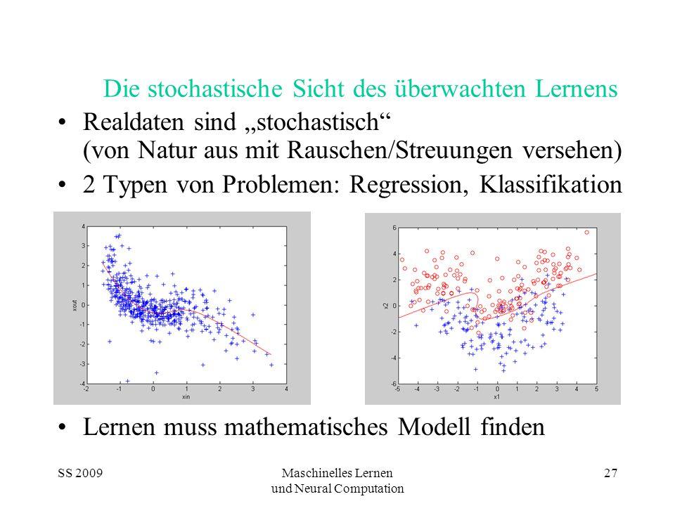 """SS 2009Maschinelles Lernen und Neural Computation 27 Die stochastische Sicht des überwachten Lernens Realdaten sind """"stochastisch (von Natur aus mit Rauschen/Streuungen versehen) 2 Typen von Problemen: Regression, Klassifikation Lernen muss mathematisches Modell finden"""