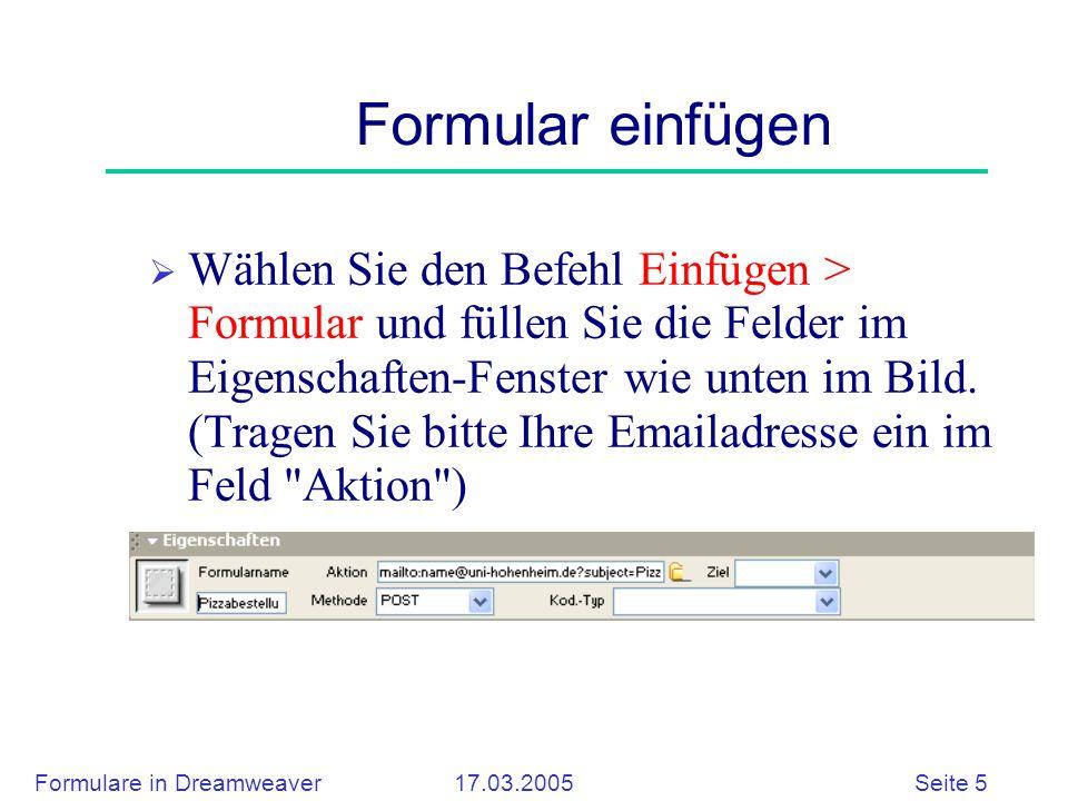 Formulare in Dreamweaver 17.03.2005 Seite 5 Formular einfügen  Wählen Sie den Befehl Einfügen > Formular und füllen Sie die Felder im Eigenschaften-Fenster wie unten im Bild.