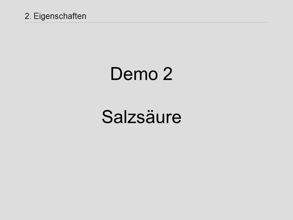 Demo 2 Salzsäure 2. Eigenschaften