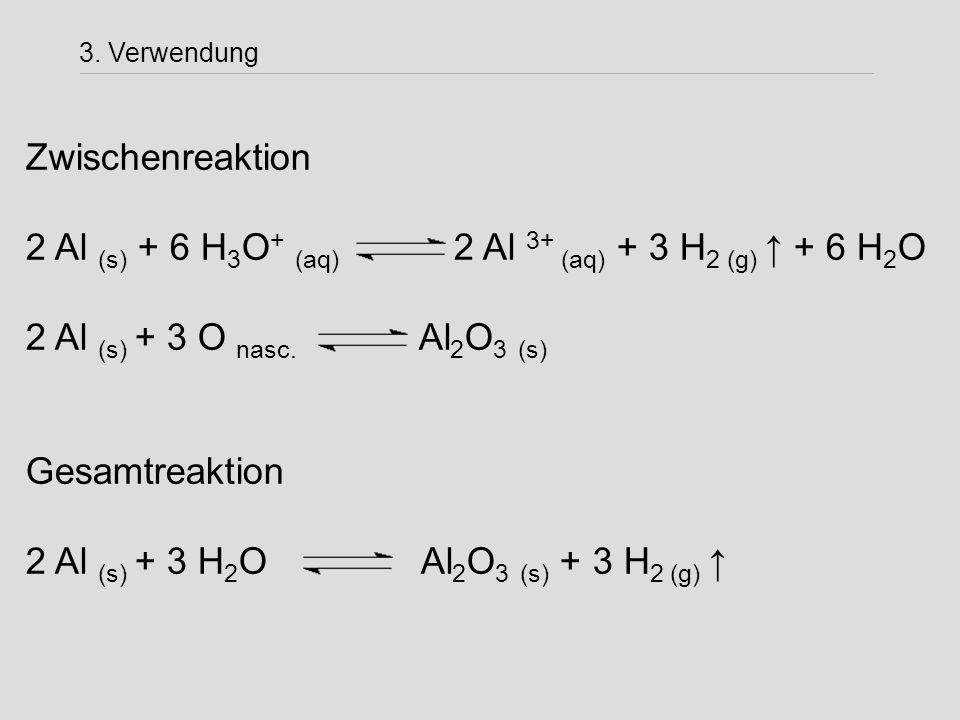 Zwischenreaktion 2 Al (s) + 6 H 3 O + (aq) 2 Al 3+ (aq) + 3 H 2 (g) ↑ + 6 H 2 O 2 Al (s) + 3 O nasc. Al 2 O 3 (s) Gesamtreaktion 2 Al (s) + 3 H 2 O Al