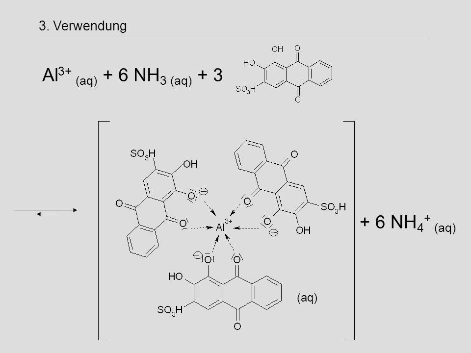 3. Verwendung Al 3+ (aq) + 6 NH 3 (aq) + 3 + 6 NH 4 + (aq) (aq)