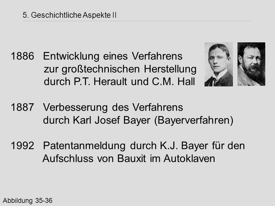 1886 Entwicklung eines Verfahrens zur großtechnischen Herstellung durch P.T. Herault und C.M. Hall 1887 Verbesserung des Verfahrens durch Karl Josef B