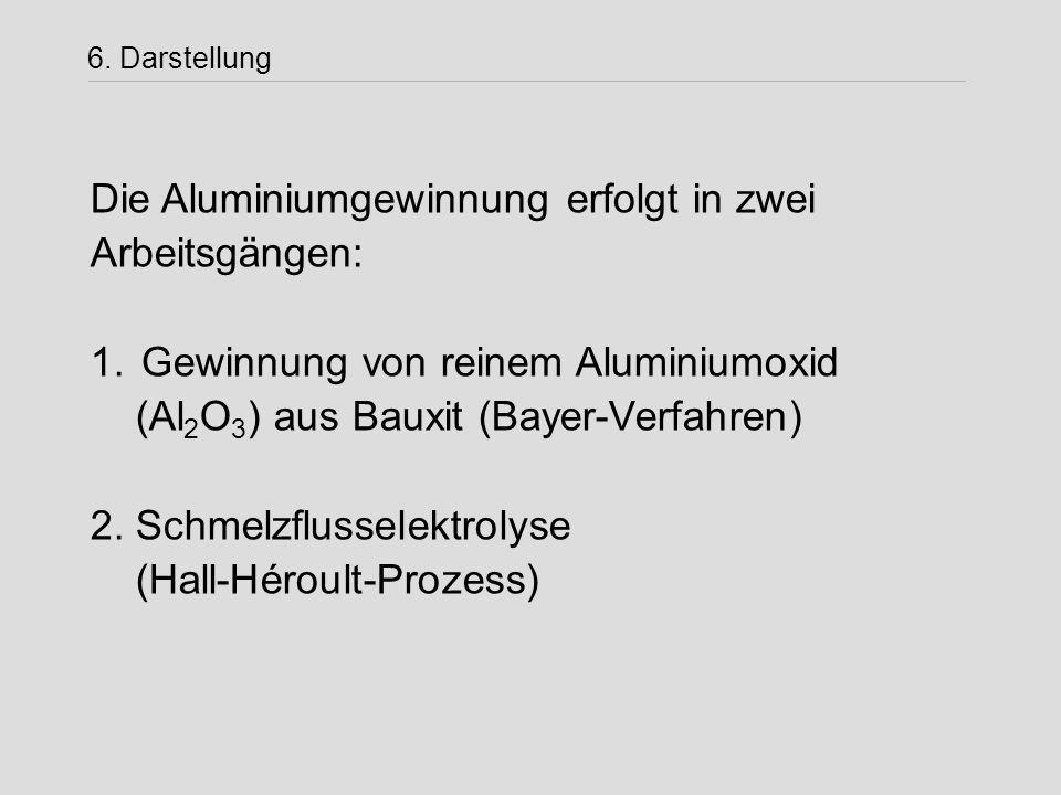 6. Darstellung Die Aluminiumgewinnung erfolgt in zwei Arbeitsgängen: 1. Gewinnung von reinem Aluminiumoxid (Al 2 O 3 ) aus Bauxit (Bayer-Verfahren) 2.