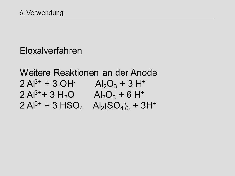 6. Verwendung Eloxalverfahren Weitere Reaktionen an der Anode 2 Al 3+ + 3 OH - Al 2 O 3 + 3 H + 2 Al 3+ + 3 H 2 O Al 2 O 3 + 6 H + 2 Al 3+ + 3 HSO 4 A