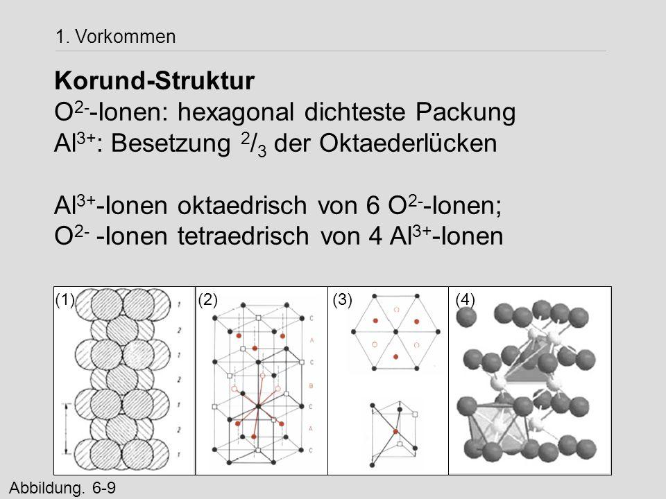 Korund-Struktur O 2- -Ionen: hexagonal dichteste Packung Al 3+ : Besetzung 2 / 3 der Oktaederlücken Al 3+ -Ionen oktaedrisch von 6 O 2- -Ionen; O 2- -