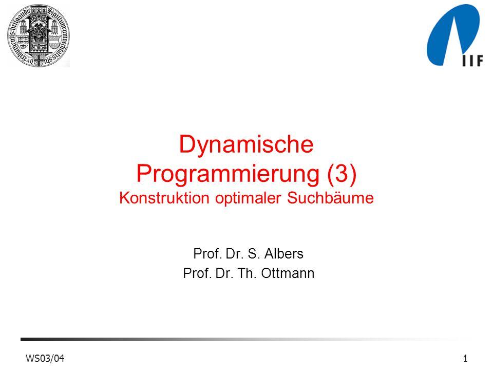 WS03/041 Dynamische Programmierung (3) Konstruktion optimaler Suchbäume Prof.