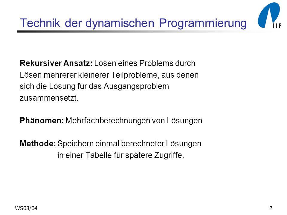 2WS03/04 Technik der dynamischen Programmierung Rekursiver Ansatz: Lösen eines Problems durch Lösen mehrerer kleinerer Teilprobleme, aus denen sich die Lösung für das Ausgangsproblem zusammensetzt.