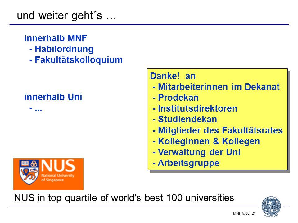 MNF 9/06_21 und weiter geht´s … innerhalb MNF - Habilordnung - Fakultätskolloquium innerhalb Uni -...