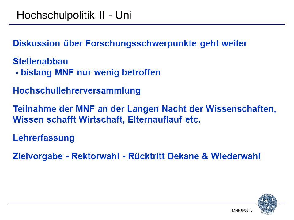 MNF 9/06_10 Gliederung Studium - Zahlen & Fakten Hochschulpolitik Personal, Drittmittel & Haushalt Sonstiges Ausblick