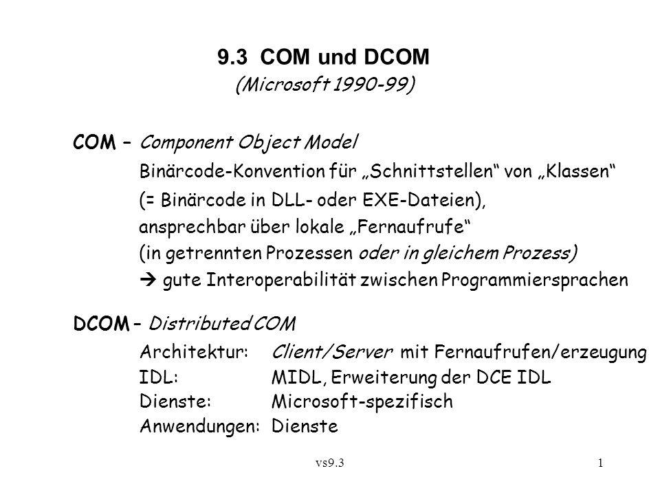 """vs9.31 9.3 COM und DCOM (Microsoft 1990-99) COM – Component Object Model Binärcode-Konvention für """"Schnittstellen"""" von """"Klassen"""" (= Binärcode in DLL-"""
