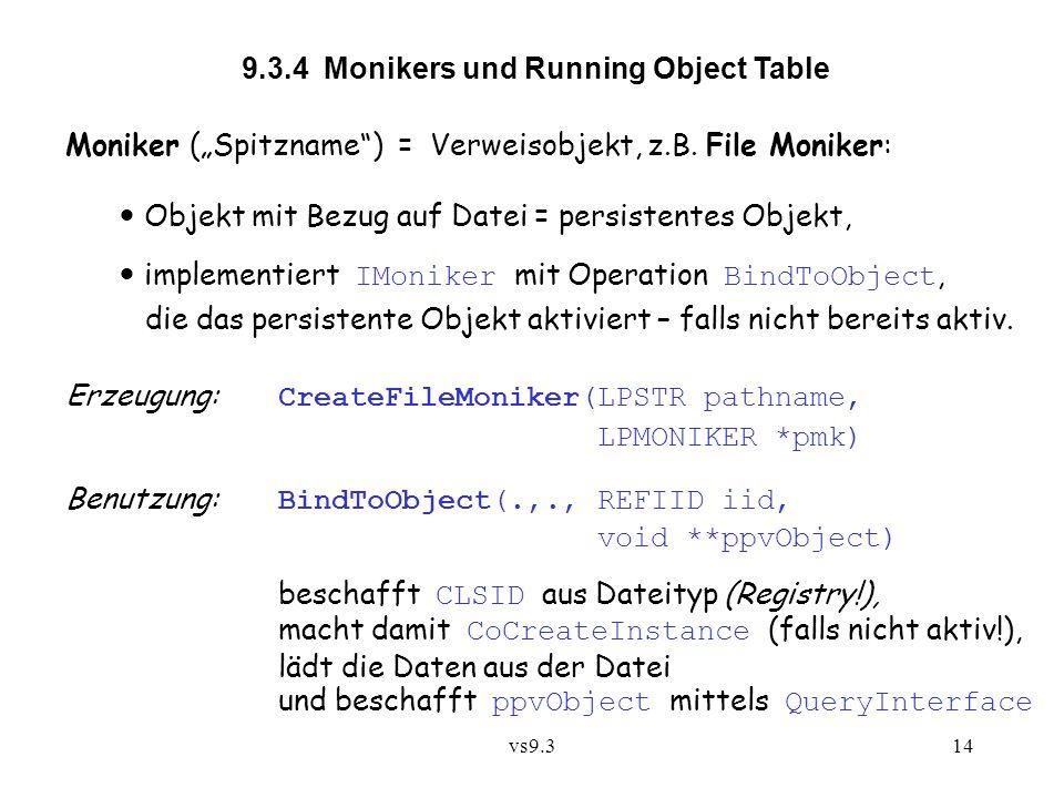 "vs9.314 9.3.4 Monikers und Running Object Table Moniker (""Spitzname"") = Verweisobjekt, z.B. File Moniker: Objekt mit Bezug auf Datei = persistentes Ob"