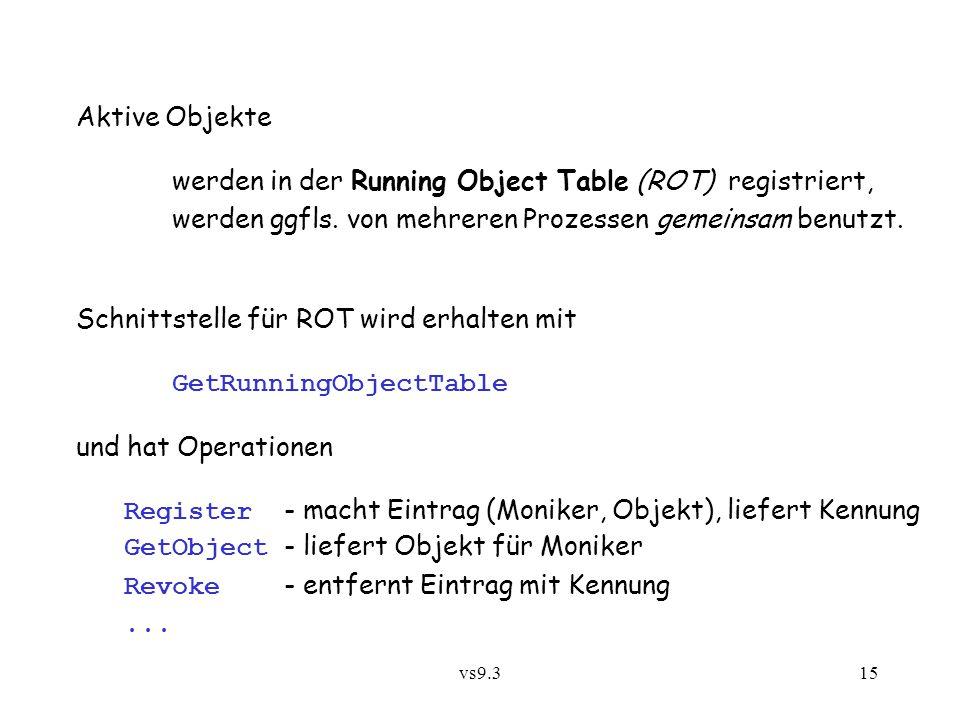 vs9.315 Aktive Objekte werden in der Running Object Table (ROT) registriert, werden ggfls. von mehreren Prozessen gemeinsam benutzt. Schnittstelle für