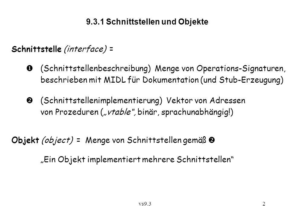 vs9.32 9.3.1 Schnittstellen und Objekte Schnittstelle (interface) =  (Schnittstellenbeschreibung) Menge von Operations-Signaturen, beschrieben mit MI