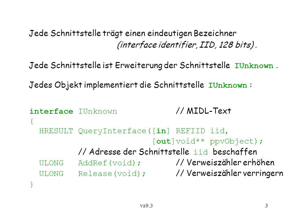 vs9.34 [ object, uuid(0000010C-0000-0000-C000-000000000046) ] // IID – Interface ID interface Ipersist : IUnknown { typedef [unique] IPersist *LPPERSIST; HRESULT GetClassID([out] CLSID *pClassID); } Beispiel einer Schnittstellenbeschreibung mit Angabe eines IID:
