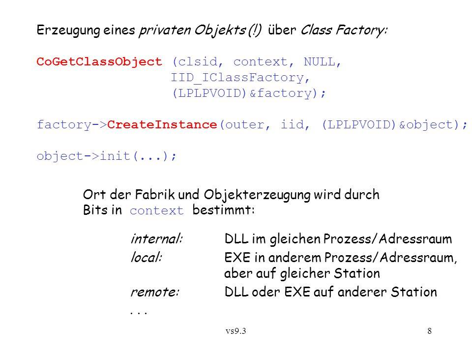 vs9.38 Erzeugung eines privaten Objekts (!) über Class Factory: CoGetClassObject (clsid, context, NULL, IID_IClassFactory, (LPLPVOID)&factory); factor