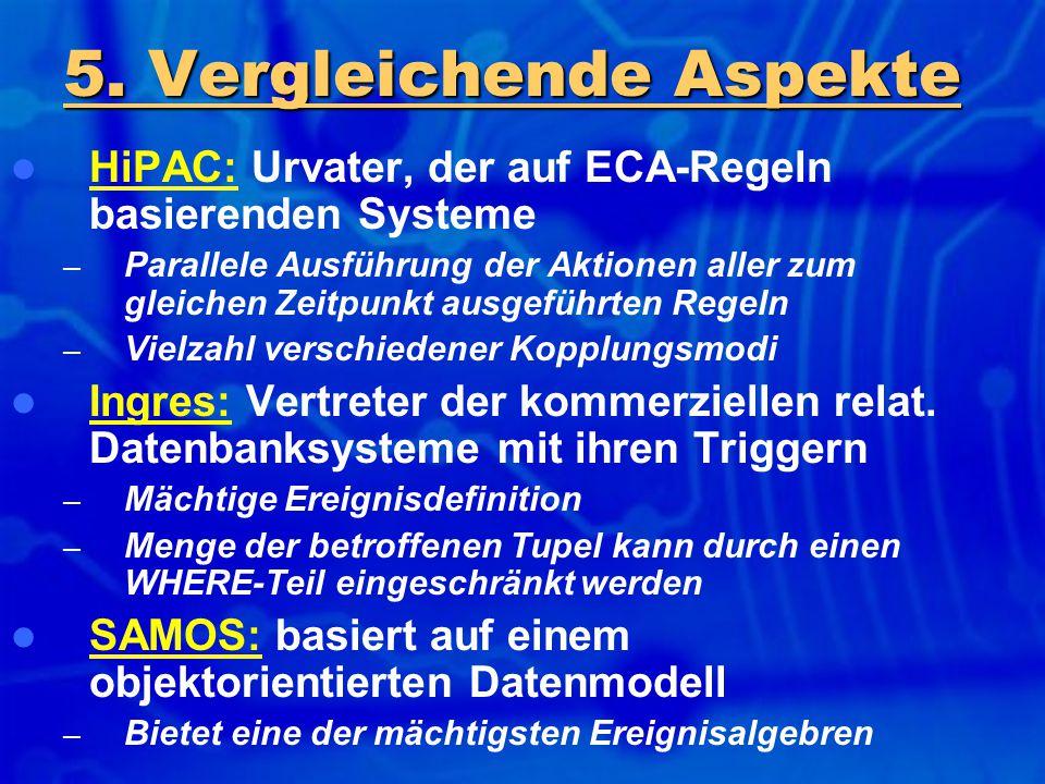HiPAC: Urvater, der auf ECA-Regeln basierenden Systeme – Parallele Ausführung der Aktionen aller zum gleichen Zeitpunkt ausgeführten Regeln – Vielzahl