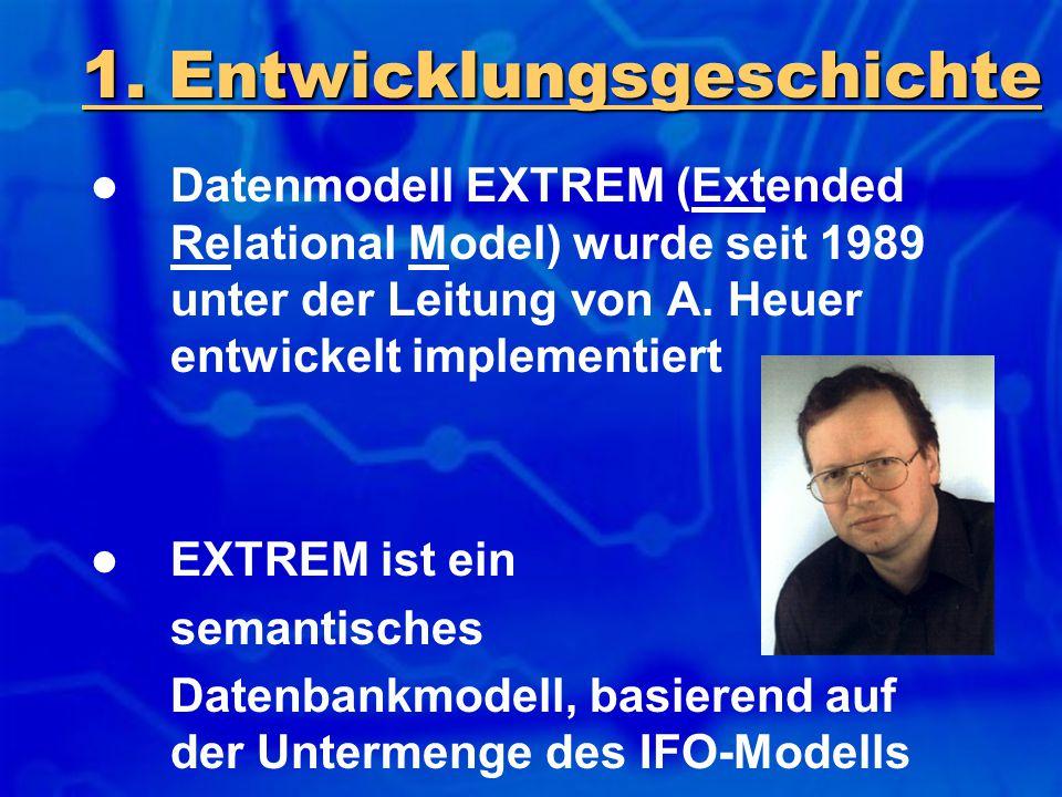 1. Entwicklungsgeschichte Datenmodell EXTREM (Extended Relational Model) wurde seit 1989 unter der Leitung von A. Heuer entwickelt implementiert EXTRE