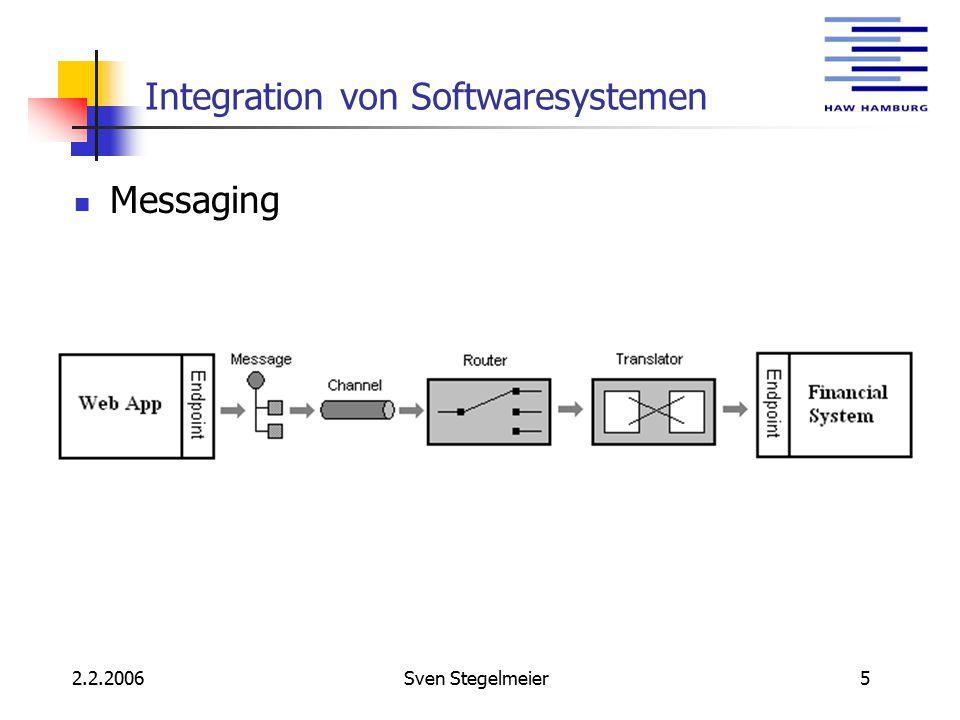 2.2.2006Sven Stegelmeier6 Integration von Softwaresystemen Service Bus Infrastruktur Adapter Kommando- nachrichten