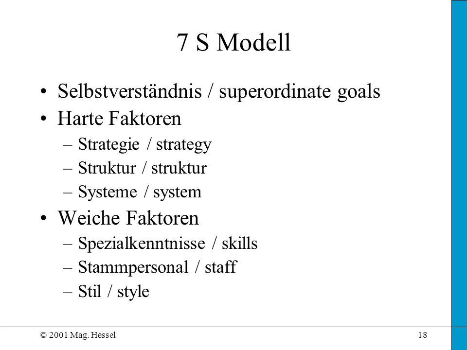 © 2001 Mag. Hessel18 7 S Modell Selbstverständnis / superordinate goals Harte Faktoren –Strategie / strategy –Struktur / struktur –Systeme / system We