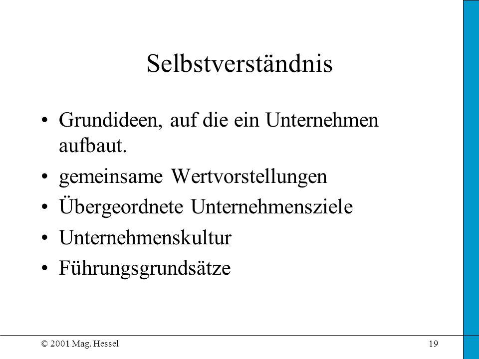 © 2001 Mag. Hessel19 Selbstverständnis Grundideen, auf die ein Unternehmen aufbaut. gemeinsame Wertvorstellungen Übergeordnete Unternehmensziele Unter
