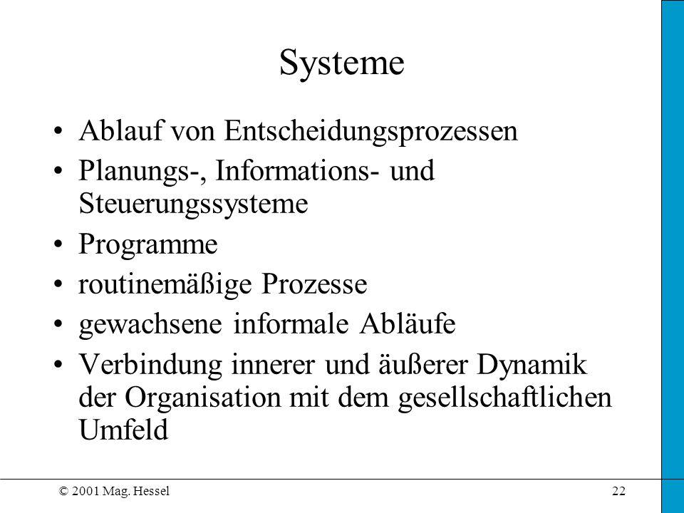 © 2001 Mag. Hessel22 Systeme Ablauf von Entscheidungsprozessen Planungs-, Informations- und Steuerungssysteme Programme routinemäßige Prozesse gewachs