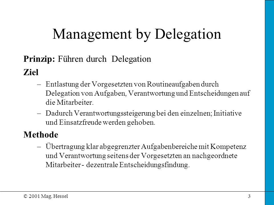 © 2001 Mag. Hessel3 Management by Delegation Prinzip: Führen durch Delegation Ziel –Entlastung der Vorgesetzten von Routineaufgaben durch Delegation v
