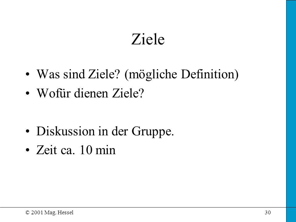 © 2001 Mag. Hessel30 Ziele Was sind Ziele? (mögliche Definition) Wofür dienen Ziele? Diskussion in der Gruppe. Zeit ca. 10 min
