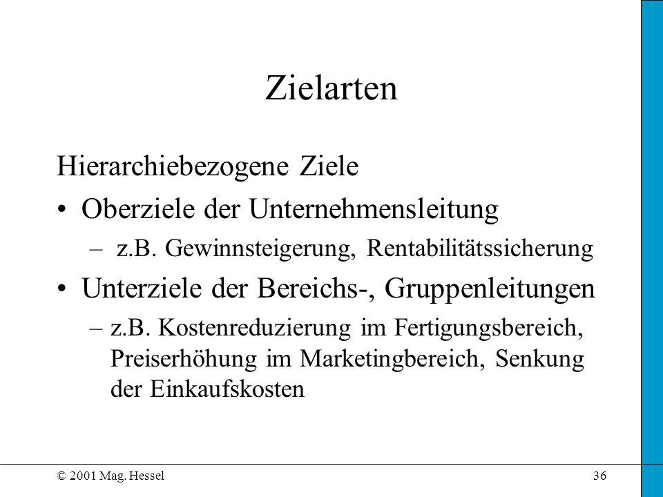 © 2001 Mag. Hessel36 Zielarten Hierarchiebezogene Ziele Oberziele der Unternehmensleitung – z.B. Gewinnsteigerung, Rentabilitätssicherung Unterziele d