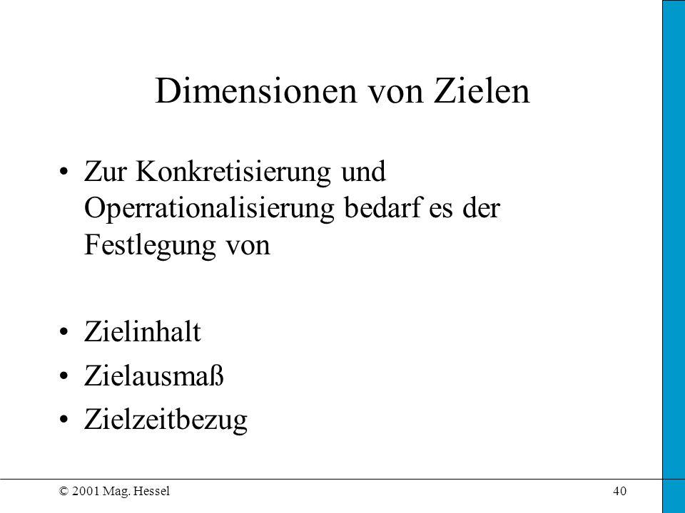 © 2001 Mag. Hessel40 Dimensionen von Zielen Zur Konkretisierung und Operrationalisierung bedarf es der Festlegung von Zielinhalt Zielausmaß Zielzeitbe