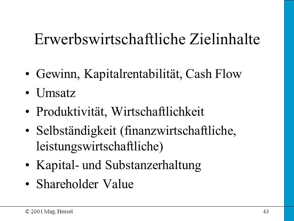 © 2001 Mag. Hessel43 Erwerbswirtschaftliche Zielinhalte Gewinn, Kapitalrentabilität, Cash Flow Umsatz Produktivität, Wirtschaftlichkeit Selbständigkei