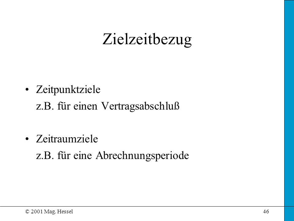 © 2001 Mag. Hessel46 Zielzeitbezug Zeitpunktziele z.B. für einen Vertragsabschluß Zeitraumziele z.B. für eine Abrechnungsperiode