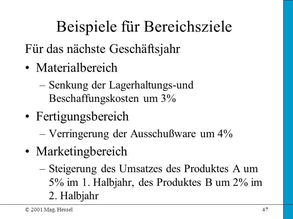 © 2001 Mag. Hessel47 Beispiele für Bereichsziele Für das nächste Geschäftsjahr Materialbereich –Senkung der Lagerhaltungs-und Beschaffungskosten um 3%