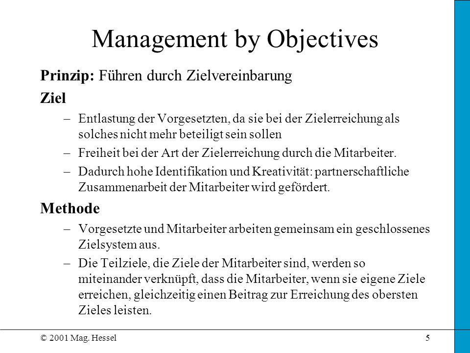 © 2001 Mag. Hessel5 Management by Objectives Prinzip: Führen durch Zielvereinbarung Ziel –Entlastung der Vorgesetzten, da sie bei der Zielerreichung a
