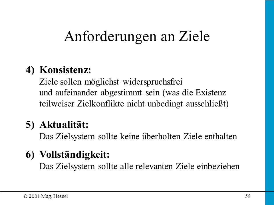 © 2001 Mag. Hessel58 Anforderungen an Ziele 4)Konsistenz: Ziele sollen möglichst widerspruchsfrei und aufeinander abgestimmt sein (was die Existenz te