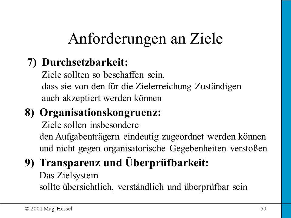 © 2001 Mag. Hessel59 Anforderungen an Ziele 7)Durchsetzbarkeit: Ziele sollten so beschaffen sein, dass sie von den für die Zielerreichung Zuständigen