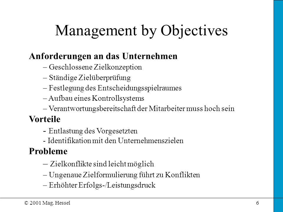 © 2001 Mag. Hessel6 Management by Objectives Anforderungen an das Unternehmen – Geschlossene Zielkonzeption – Ständige Zielüberprüfung – Festlegung de