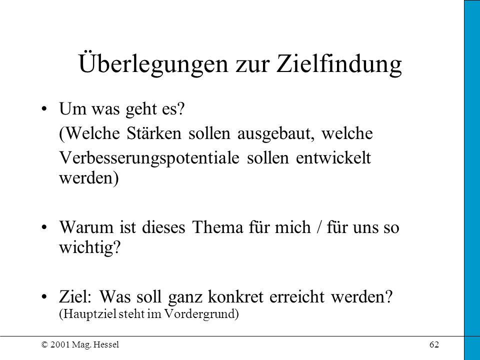 © 2001 Mag. Hessel62 Um was geht es? (Welche Stärken sollen ausgebaut, welche Verbesserungspotentiale sollen entwickelt werden) Warum ist dieses Thema