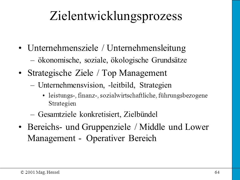 © 2001 Mag. Hessel64 Zielentwicklungsprozess Unternehmensziele / Unternehmensleitung –ökonomische, soziale, ökologische Grundsätze Strategische Ziele