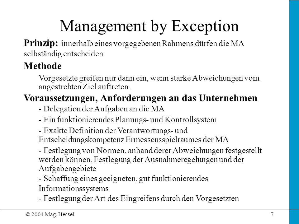 © 2001 Mag. Hessel7 Prinzip: innerhalb eines vorgegebenen Rahmens dürfen die MA selbständig entscheiden. Methode Vorgesetzte greifen nur dann ein, wen