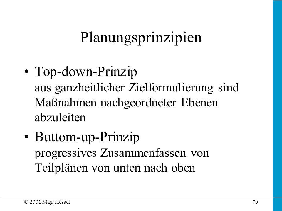 © 2001 Mag. Hessel70 Planungsprinzipien Top-down-Prinzip aus ganzheitlicher Zielformulierung sind Maßnahmen nachgeordneter Ebenen abzuleiten Buttom-up