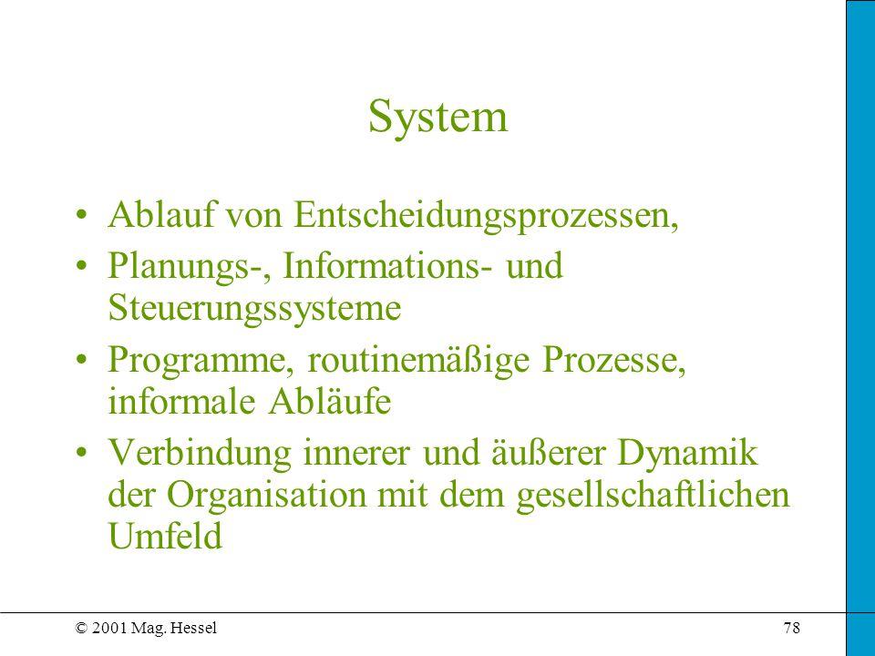 © 2001 Mag. Hessel78 System Ablauf von Entscheidungsprozessen, Planungs-, Informations- und Steuerungssysteme Programme, routinemäßige Prozesse, infor