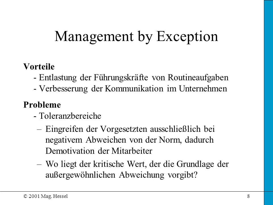 © 2001 Mag. Hessel8 Management by Exception Vorteile - Entlastung der Führungskräfte von Routineaufgaben - Verbesserung der Kommunikation im Unternehm