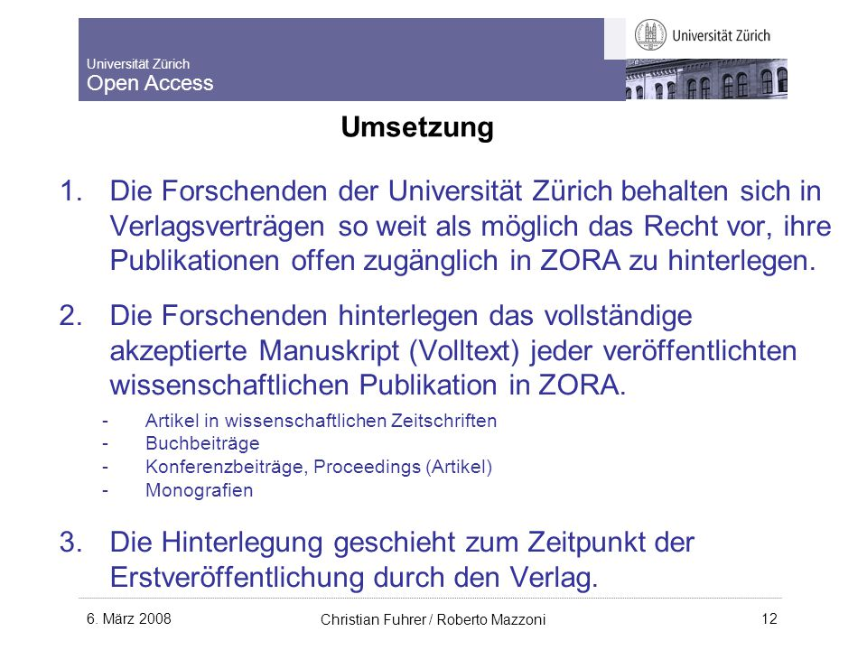 Universität Zürich Open Access 6.
